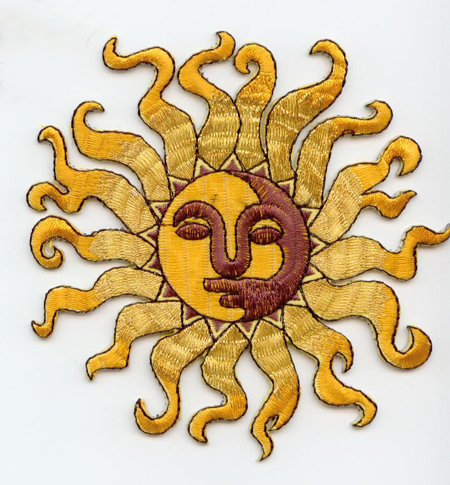 embroidered sun applique - yellow and gold