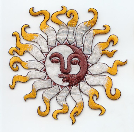 embroidered Yellow/Silver sun applique